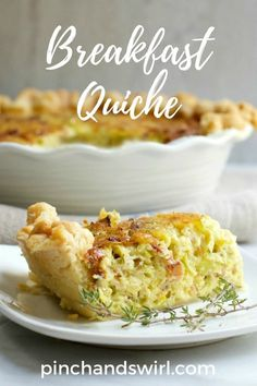 This Breakfast Quiche recipe is one of my favorite dishes for breakfast or brunch - rich and so delicious! #eggs #breakfastrecipes #breakfastlovers #brunchweek #mothersday #quiche