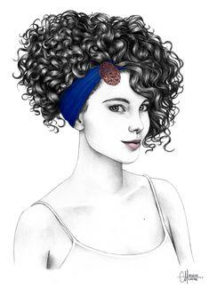 Hair Bar Babyliss x Adéli Paris – Catalogue Coiffure Curly Hair Drawing, Curly Hair Styles, Natural Hair Styles, Hair Sketch, Black Women Art, How To Draw Hair, Curly Girl, Hair Art, Fashion Sketches