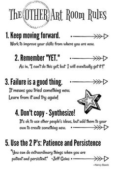 I love these art room rules! Definitely fit my teaching philosophy! I love these art room rules! Definitely fit my teaching philosophy! The post I love these art room rules! Definitely fit my teaching philosophy! appeared first on Belle Ouellette. Art Classroom Decor, Art Classroom Management, Classroom Posters, Classroom Organization, Art Room Rules, Art Rules, Room Art, Art Class Rules, Middle School Art