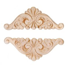 Set of Two Large French Provincial Style Flexible Scroll Appliques