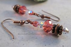 Beaded Padparadschaorange red and crystal clear by BelhavenStudios