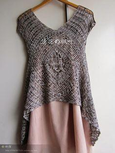 crochet tunic- has chart crochet shirt, long points at hem on sides . Mode Crochet, Crochet Tunic, Crochet Clothes, Irish Crochet, Crochet Tops, Knitting Patterns, Crochet Patterns, Crochet Diagram, Knitting Charts