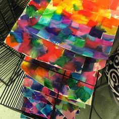 Another class ready to reveal their true colors! #tissuepaperart #spectra #colorfordays #artroom #mondayart
