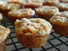 Pecan Pie Cupcakes 1 c chopped pecans 1/2 c flour 1 c packed Brown sugar 2/3 c melted butter 2 eggs Mix all ingredients together. Spray cupcake pan thoroughly, preferably the spray with flour in it. Fill 2/3 full, overfilling will cause them to spill over sides. Bake 350.