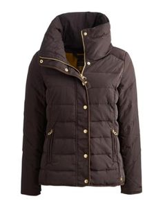 Joules Womens Padded Jacket, Dark Saddle Brown.                     Beat the chill in this warm padded jacket that's the perfect companion for blustery days.  A concealed hood is hidden inside a neck hugging collar that's just right for keeping out any sudden draughts. A suede-feel trim and dropped hem only add to this jacket's appeal.