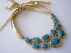 Crochet Knitted Turquoise Stone Necklace by shanna