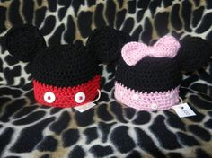 Mickey and/or Minnie Hat Set  Newborn 612 by TbearsCreations, $20.00