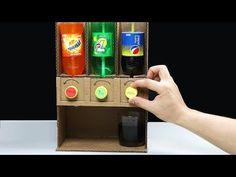 How to Make Coca Cola Soda Fountain Machine with 3 Different Drinks at Home. In my case, it's Coca-Cola, Fanta and Sprite but you can use any drink! Candy Dispenser, Drink Dispenser, Soda Fountain Machine, Crafts To Make, Easy Crafts, Diy Karton, Soda Machines, Cardboard Box Crafts, Diy Fountain