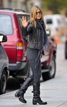 jennifer aniston wearing fiorentini and baker boots and balenciaga black leather jacket