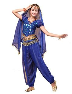 0002680d41 Beverly Womens Short Sleeve Gold Coins Belly Dance Costume Set 3 Pieces  royal blue --