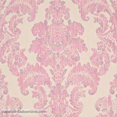 Papel Pintado ESPIRIT BOUDOIR 77_41_37, papel de medallones de estilo clásico en beige y rosa pastel.