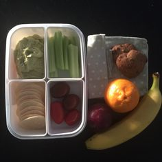 """Big girls lunch box today: creamy avocado dip (from cookbook """"Cut out the Crap Lunchbox Solutions"""") rice crackers, celery, tomato, fruit (miss 10 has an extra piece as she has fruit break at school still) & choc chip biscuits (from cookbook """"Cut out the Crap for Kids"""")"""