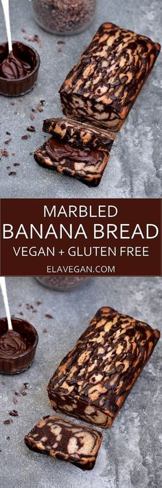 This delicious banana loaf is moist chocolately low in fat egg free dairy free refined sugar free gluten free and of course vegan. Serve it with a homemade chocolate spread. Banana Com Chocolate, Homemade Chocolate, Chocolate Spread, Cake Chocolate, Vegan Chocolate, Baking Chocolate, Chocolate Muffins, Homemade Food, Gluten Free Baking
