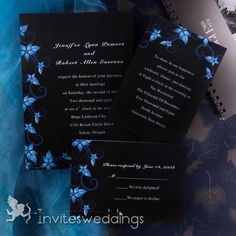 Modern Black and Blue Wedding Invitations - Blue Damask Wedding Invite - Rustic Wedding Theme Card With Free RSVP Cards And Envelope Black And White Wedding Invitations, Winter Wedding Invitations, Formal Invitations, Invitations Online, Elegant Wedding Themes, Wedding Ideas, Wedding Stuff, Wedding Things, Wedding Shit