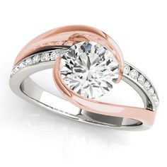 14k ROSE & WHITE GOLD DIAMOND SEMI-MOUNT ROUND SWIRL MODERN ENGAGEMENT RING #SolitairewithAccents