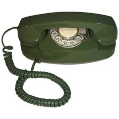 Vintage Pea Green Rotary Princess Phone (170 CAD) ❤ liked on Polyvore featuring accessories, tech accessories and phones