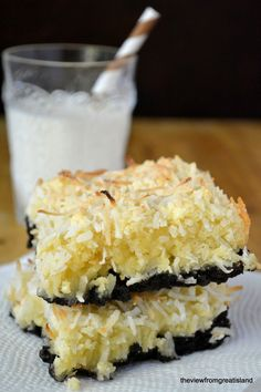 Bet these are amazing!! Black Bottom Coconut Squares via The View from Great Island #stretchypants