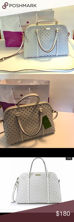 BNWT Kate Spade Purse Kate Spade leather handbag with gold toned hardware  Adjustable, detachable strap crossbody or shoulder  Interior features 1 zip pocket and 2 slip pockets Approx. dimensions: 13 in L x 9.5 in H x 5 in W Medium size. #katespade #purse #bag #crossbody #fashion kate spade Bags Crossbody Bags