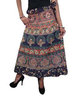 Cute Wrapskirt Blue Printed Indian Designer Boho Hippie Summer Wrap