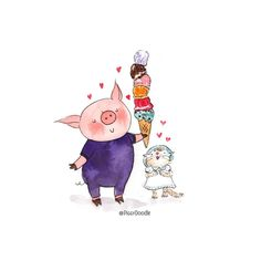 🐽One of the best days in a year. Funny Drawings, Art Drawings, Emma Watson, Pig Illustration, Piggly Wiggly, Winter Fairy, Cute Piggies, Animals Of The World, Cartoon Characters