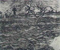 Friends of Vincent (@VanGoghADay) | Twitter  Landscape with Olive Tree and Mountains in the Background Oil on canvas Saint-Rémy: December, 1889 Private collection