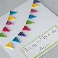 Image Detail for - Quilled bunting birthday card, personalised, paper quilling