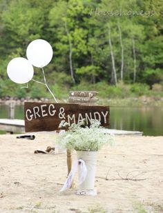 country wedding on lake shore.