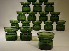 Jens H Quistgaard for Dansk Designs Ltd Candle holders in green molded glass.