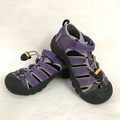 Keen Newport Little Kids Sandals 12 Purple Hook Loop Bungee Laces  #KEEN #Sandals