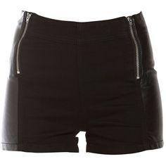 Black Zip PU Panel Shorts ($13) ❤ liked on Polyvore featuring shorts, short, short shorts and zipper shorts