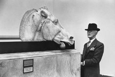 Marc Riboud - Londres, British Museum, 1954 - A dialogue between a Greek horse, who came from the Parthenon, and a very worthy subject of His Majesty. Social Photography, World Photography, Street Photography, White Photography, Marc Riboud, Henri Cartier Bresson, Magnum Photos, French Photographers, London Photos
