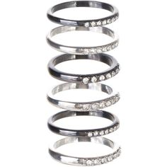 M.N.G Eliza Mixed Ring Set (€10) ❤ liked on Polyvore featuring jewelry, rings, accessories, silver, women, set rings, silver jewellery, silver rings and silver jewelry