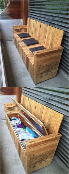 Wood Pallet Bench with Storage #WoodworkingBench