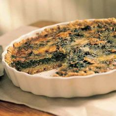 Mushroom-and-Spinach Quiche in an Oat Crust by Cooking Light