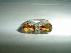 edwardian ring sterling silver citrine by qualityvintagejewels