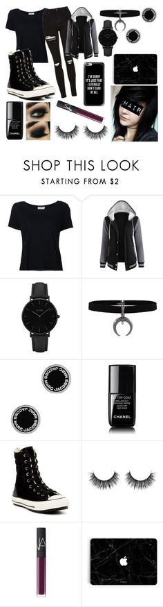 """Emo"" by mintyloverxoxo ❤ liked on Polyvore featuring Frame, CLUSE, Marc Jacobs, Chanel, Converse, NARS Cosmetics, Casetify and emo"