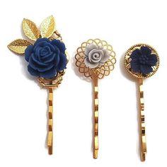 Blue Hair Pins Flower Bobby Pins-Set of 3-Bridesmaid