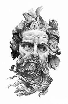 tattoo zeus greek gods \ tattoo zeus - tattoo zeus mythology - tattoo zeus preto e cinza - tattoo zeus poseidon - tattoo zeus greek gods - tattoo zeus desenho - tattoo zeus realismo - tattoo zeus design Poseidon Tattoo, Poseidon Drawing, Zeus Tattoo, Statue Tattoo, God Tattoos, Body Art Tattoos, Tattoos For Guys, Sleeve Tattoos, Tattoo Art