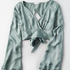 Don't Ask Why Wide Sleeve Tie Back Blouse (€32) ❤ liked on Polyvore featuring tops, blouses, green, tie crop top, cropped tops, green long sleeve blouse, crop blouse and long sleeve blouse