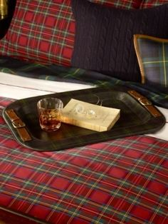 Like the tray....and of course the plaid.....B's room.