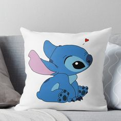 'Stitch Throw Pillow by shmurr Cute Stitch, Stitch 2, Peluche Stitch, Stich Disney, Lelo And Stitch, My Champion, Cute Disney, Disney Drawings, Designer Throw Pillows
