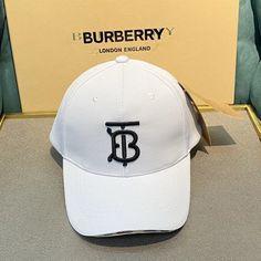 -White Baseball Cap. -100% Cotton. Burberry Outlet Online, Cheap Burberry, White Baseball Cap, Monogram, Cotton, Monograms