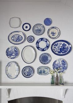 blue willow and other blue transfer ware...