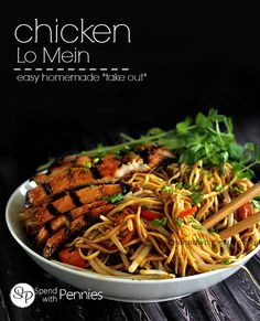 "Chicken Lo Mein! This simple and delicious dish is an easy way to curb your ""take out"" craving at home!"