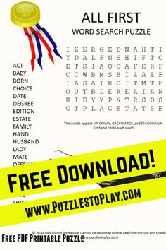 It's the first word search. Who doesn't want to be first? This printable puzzle is a fun word game highlighting where you can be first in your life because sometimes being second isn't as much fun! Enjoy the word game!