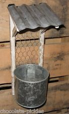 Chicken Wire & Wood & Galvanized Metal Awning Hanging PLANTER*Bird Seed FEEDER