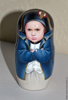 """Купить Коллекционная портретная матрешка """"Наполеон"""" - разноцветный, Наполеон, коллекционная кукла, коллекционная игрушка, матрешка"""