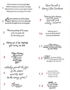 2010 Christmas Card Sentiments - Click to Enlarge!