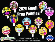 2020 Mask Emoji Party Fun Face Photo Props by CloverMillGraphicsCA on Etsy Photo Frame Prop, Photo Booth Props, Party Props, Party Fun, Face On A Stick, Office Birthday, Wedding Fans, Friendly Plastic, Face Photo