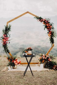 7 Wedding Arches That Will Instantly Upgrade Your Ceremony - Hexagon wedding arch with fall wedding flowers 🌟💡💖geometric wedding ideas - Fall wedding ideas wedding ceremony Inexpensive Wedding Flowers, Bright Wedding Flowers, Winter Wedding Flowers, Wedding Colors, Diy Wedding Arch Flowers, Winter Wedding Arch, Diy Wedding Arbor, Simple Wedding Arch, Yellow Wedding
